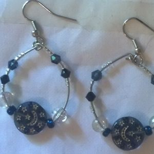 Silver Hoop Earrings Blue White Silver Moons Stars